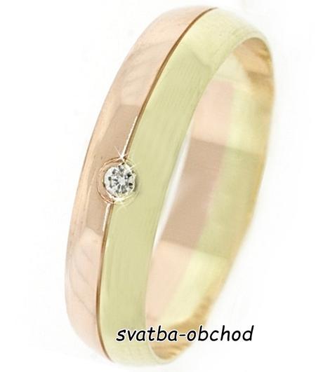 Snubní prsten B33 - zlato žluté-červené + zirkon,
