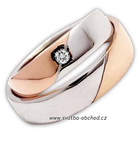 Snubní prsten B37 - zlato žluté-bílé,