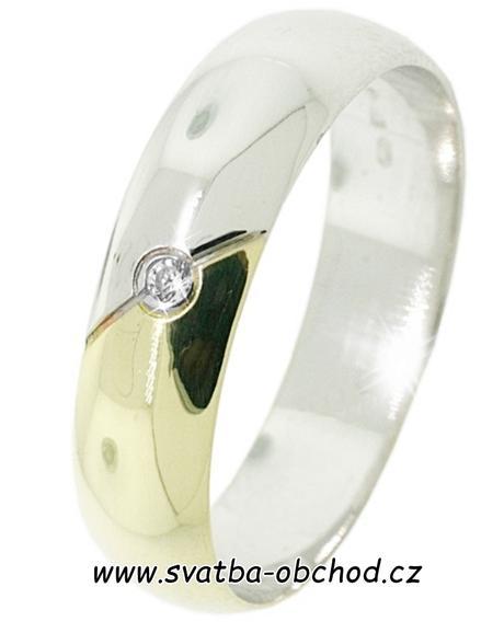 Snubní prsten B37 - zlato žluté-bílé + zirkon,