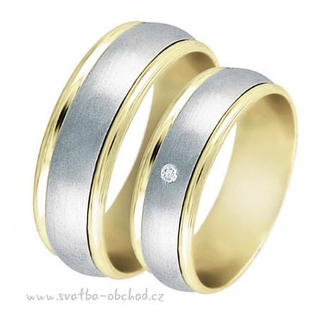 Snubní prsten B39 - zlato bílé-žluté,
