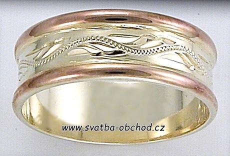 Snubní prsten B5 - zlato červené a žluté,