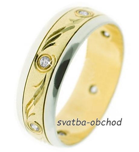 Snubní prsten B51 - zlatý + 6x zirkon,