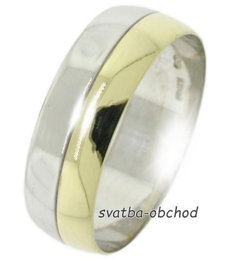 Snubní prsten B53 - zlato žluté-bílé,