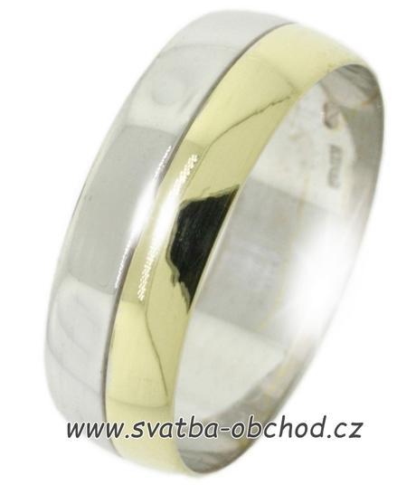 Snubní prsten B53 - zlato žluté-bílé + zirkon,