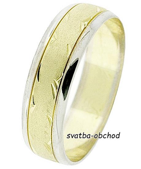 Snubní prsten B54 - zlato bílé-žluté,