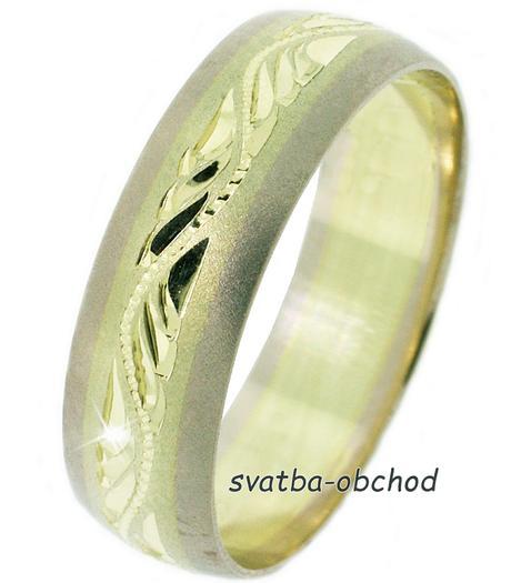 Snubní prsten B56 - zlato bílé-žluté-bílé,