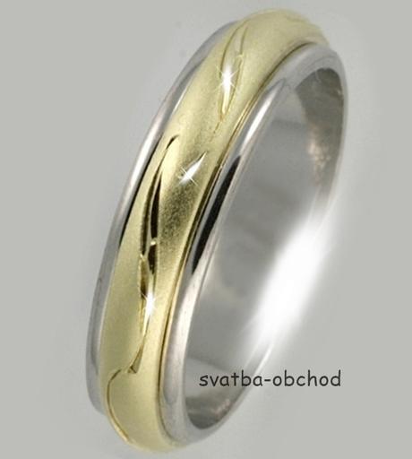 Snubní prsten B59 - zlato bílé-žluté-bílé,