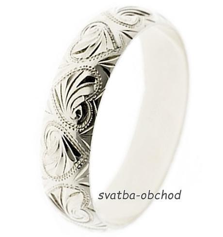 Snubní prsten B5R8 - bílé zlato,