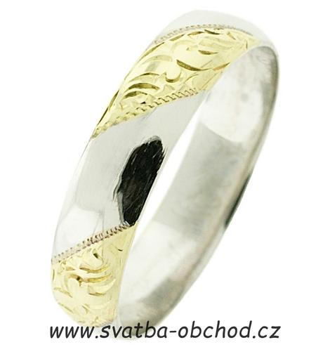 Snubní prsten B60 - zlato bílé-žluté-bílé,