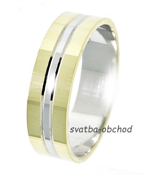 Snubní prsten B63 - zlato žluté-bílé-žluté +zirkon,