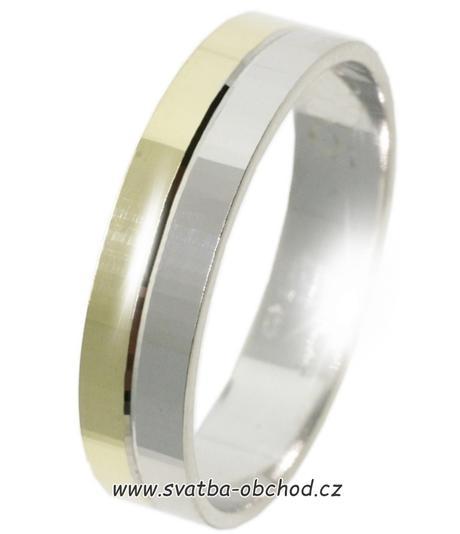 Snubní prsten B65 - zlato žluté-bílé,