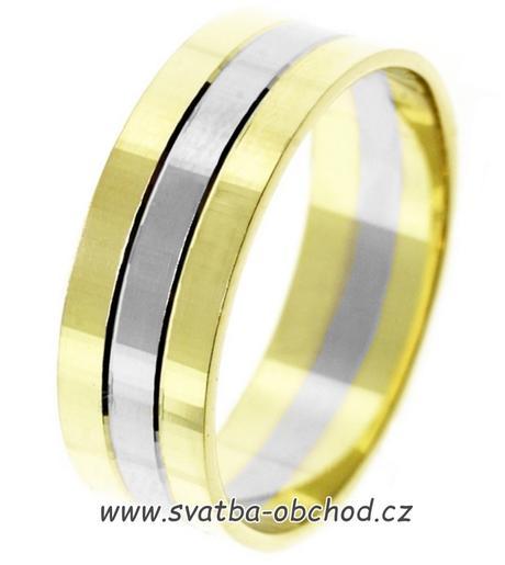 Snubní prsten B66 - zlato + 2x zirkon,