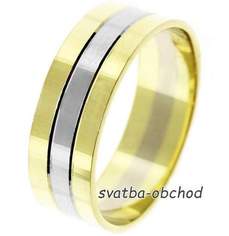 Snubní prsten B66 - zlato žluté-bílé,
