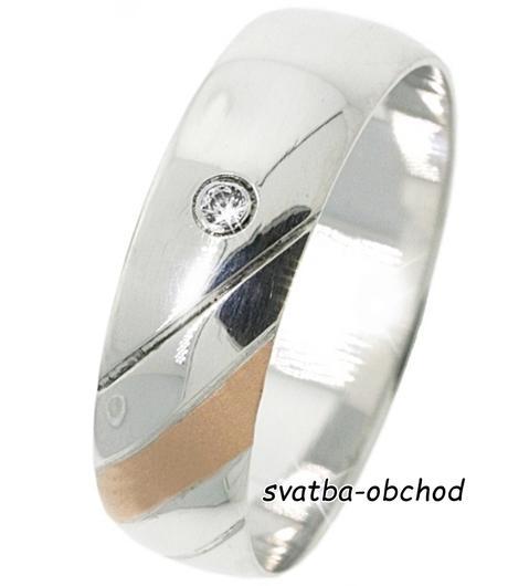 Snubní prsten B69 - zlato + 1x zirkon,