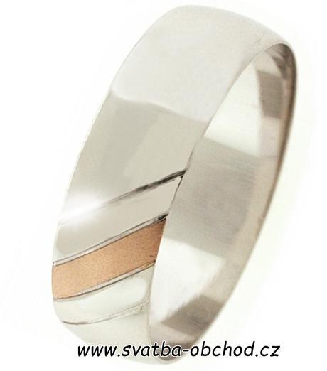 Snubní prsten B69 - zlato bílé-červené,