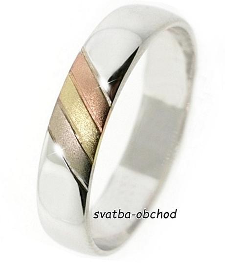 Snubní prsten B71 - zlato bílé-žluté-červené,