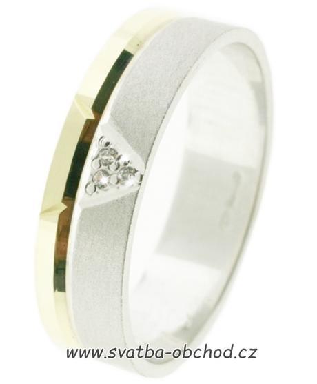 Snubní prsten B75 - zlato + 3x zirkon,