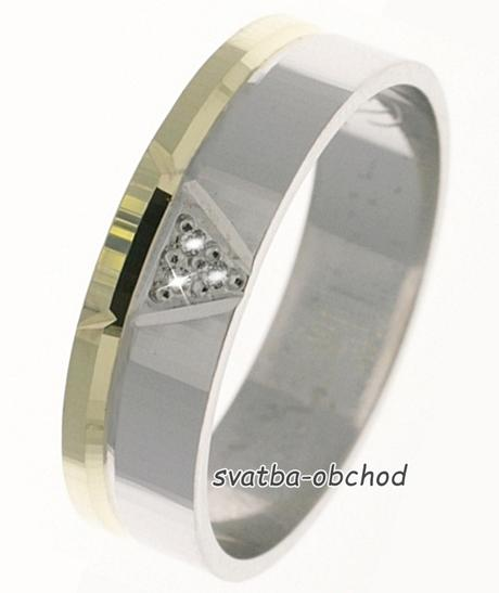Snubní prsten B76 - zlato + 3x zirkon,