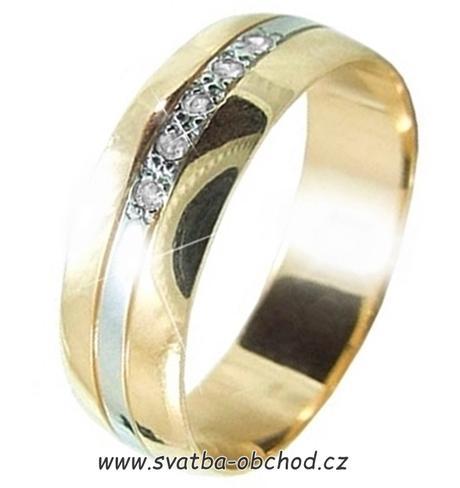 Snubní prsten B79 - zlato + 5x zirkon,