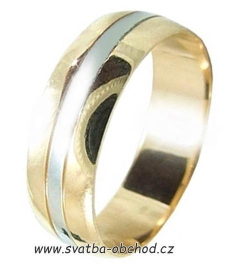 Snubní prsten B79 - zlato žluté-bílé,