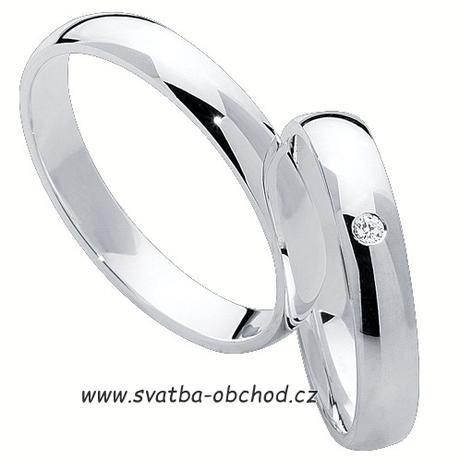 Snubní prsten K1 - bílé zlato + 1x zirkon ,