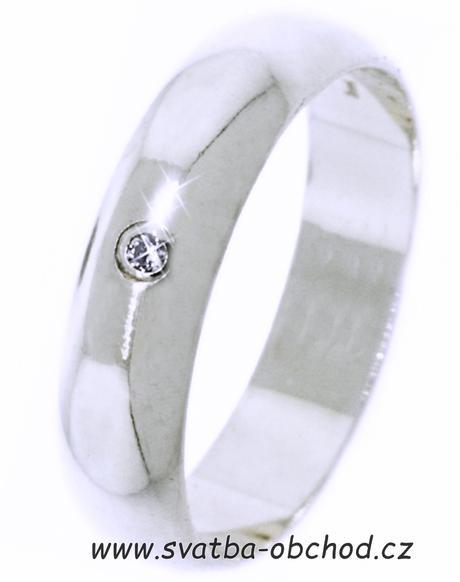 Snubní prsten K1 - stříbro + 1x zirkon,