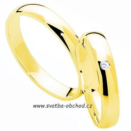 Snubní prsten K1 - žluté zlato + 1x zirkon,