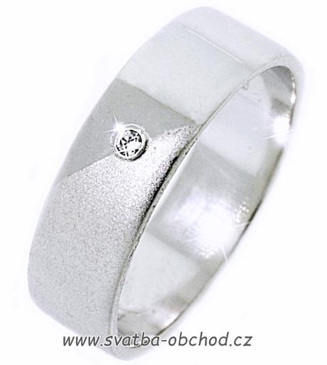 Snubní prsten K14 - bílé zlato + 1x zirkon,