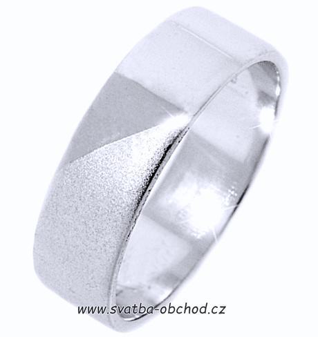 Snubní prsten K14 - bílé zlato,