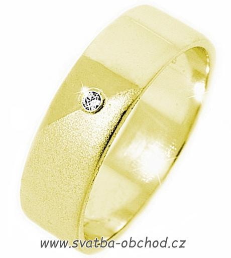 Snubní prsten K14 - žluté zlato + 1x zirkon,
