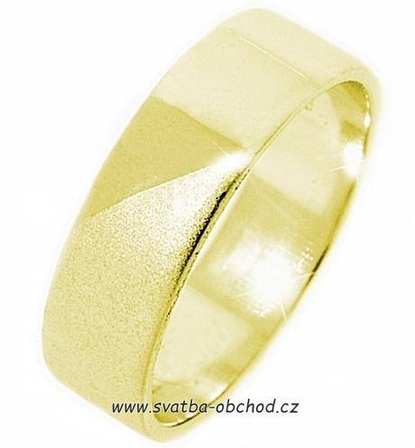 Snubní prsten K14 - žluté zlato,