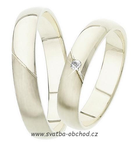 Snubní prsten K15 - bílé zlato + 1x zirkon ,