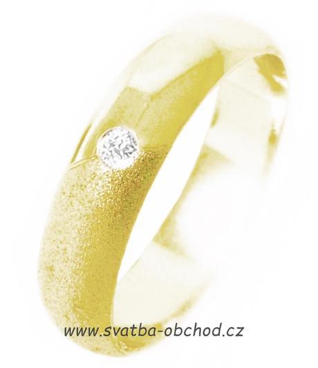 Snubní prsten K15 - stříbro + 1x zirkon,