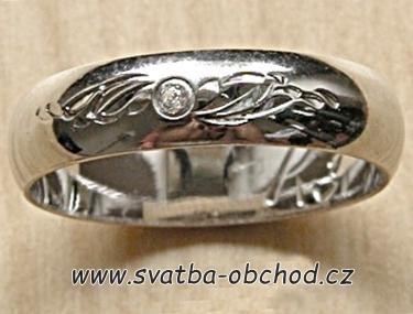 Snubní prsten K3 - bílé zlato + 1x zirkon,