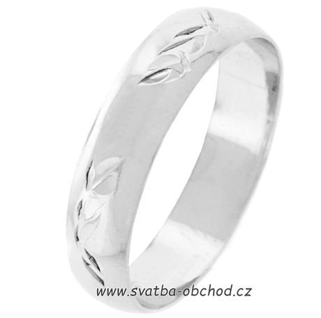 Snubní prsten K3 - bílé zlato,