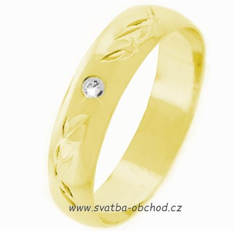 Snubní prsten K3 - žluté zlato + 1x zirkon ,