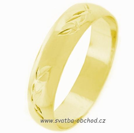 Snubní prsten K3 - žluté zlato,
