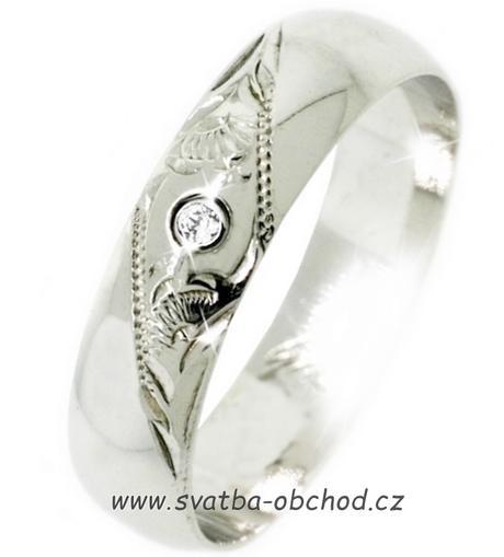 Snubní prsten K4 - bílé zlato + 1x zirkon,