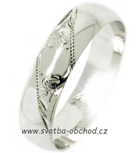 Snubní prsten K4 - bílé zlato,