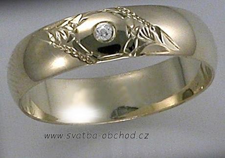 Snubní prsten K4 - žluté zlato + 1x zirkon ,