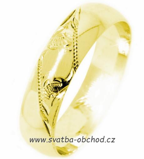 Snubní prsten K4 - žluté zlato,