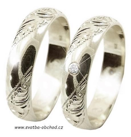 Snubní prsten K5 - bílé zlato,