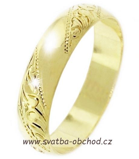 Snubní prsten K5 - žluté zlato,