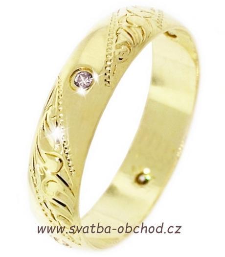 Snubní prsten K5 - žluté zlato + 4x zirkon ,