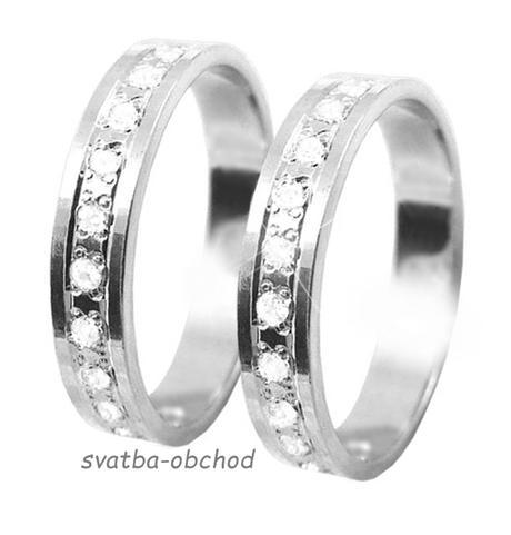 Snubní prsten K56 - bílé zlato + 13x zirkon,