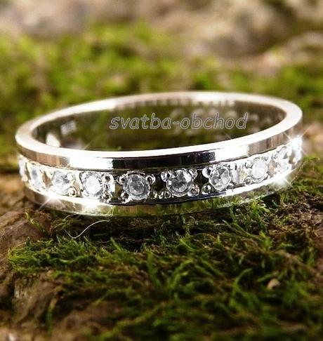 Snubní prsten K56 - bílé zlato + 15x zirkon,