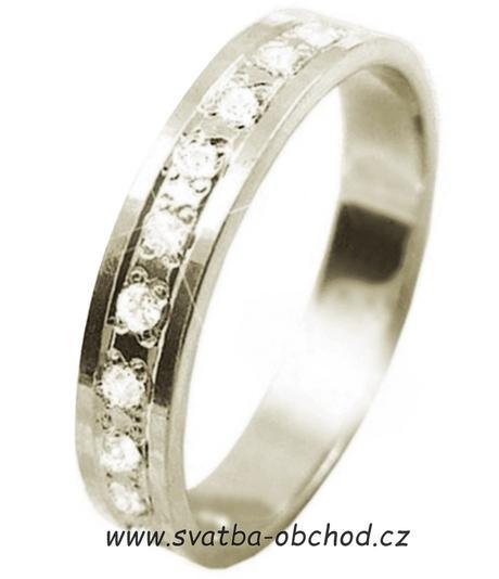 Snubní prsten K56 - stříbro + 15x zirkon,