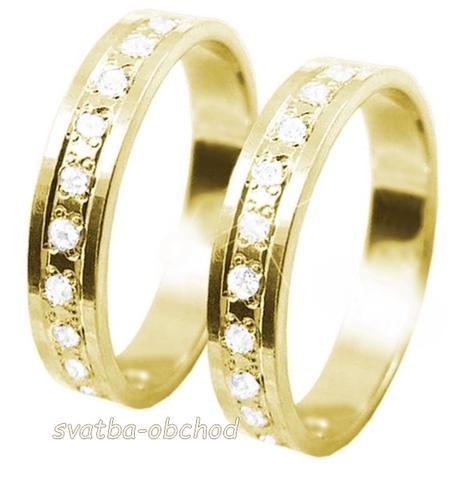 Snubní prsten K56 - žluté zlato + 13x zirkon,
