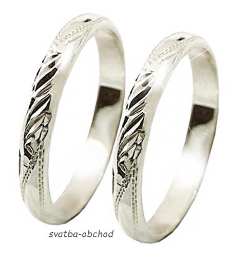Snubní prsten P3R1 - bílé zlato,