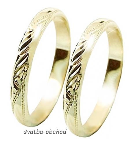Snubní prsten P3R1 - žluté zlato,
